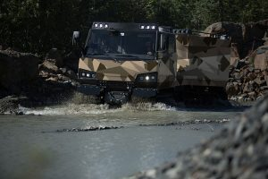 The Beowulf all-terrain vehicle can traverse through water, swamps, snow and soft sand; and climb 45-degree slopes.