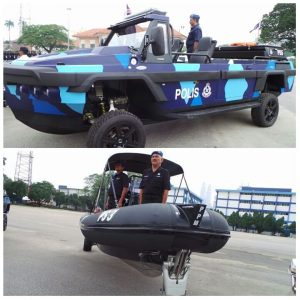 Humdinga amphibious vehicle (top) and Sealegs RIB on display at the recent 2016 Police Day ceremony. PDRM picturei