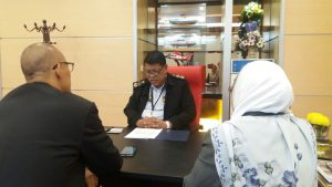 The interview with Admiral Maritime Datuk Ahmad Puzi Ab Kahar with Malaysian Defence (left). On the right is the MMEA PR Puan Faridah Shuaib. MMEA picture