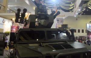The RapidRanger turret with the missile launchers on display during the preview day of DSA 2016. The missile launchers were conspicuously missing on the opening day.