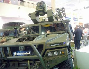 The RapidRanger turret fitted on the Uro Vamtac 4X$ vehicle at Destini Bhd booth.