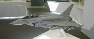 A model of a Tranche 3 Eurofighter Typhoon complete with dorsal fuel tanks at BAE Systems showcase