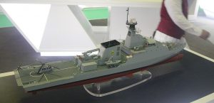 A model of the 90m OPV by BAE Systems. The Thai navy has one and building another. Reports from Thai newspapers suggest that these OPVs will be armed with Harpoon SSM.