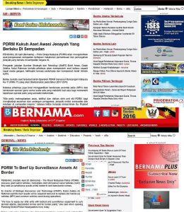 Screenshots of the two Bernama reports.