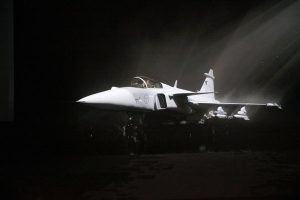 Gripen E at the unveiling ceremony. Saab