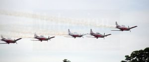 Pilatus PC-7 Mk IIs from Pulatibang 1 conducting a fly past for the Wings presentation ceremony today at KTU, Alor Setar.