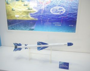 A model of the C802A SSM on display. The missile has been exported to Pakistan, Bangladesh and Algeria. Note the graphic of the family of missiles in the back.