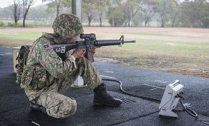 A Malaysian Army shooting team member in one of the events. Australian Army - FB.