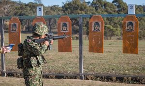 A Malaysian Army soldier takes aim at AASAM 2016. Australian Army - FB