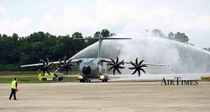 M54-03 accorded the traditional welcome as it taxi into Subang airbase. Air Times picture