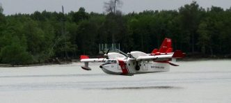 MMEA Bombardier CL-415 M71-01 conducting water landing near NorthPort, Port Klang on july 15, 2016.