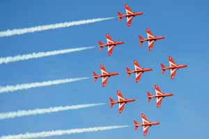 Classic Red Arrows nine diamond formation. 16 April 2014 Copyright: MoD/Crown Copyright 201