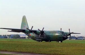 Bangladesh Air Force C130B undergoing engine checks on Sept 2, 2016 while undergoing maintenance at Airod.