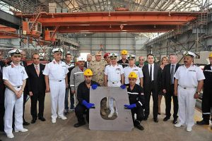 First steel cutting ceremony for Egypt Gowind corvette at Alexandria Shipyard on April 16, 2016. DCNS picture.