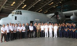 Airod and US personnel posed for a photograph with the first KC-130J which undergone maintenance at the facility. US Embassy picture.
