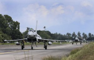 Typhoons from 1(Fighter) Sqn arriving back at RMAF Butterworth during Ex Bersama Lima 16.