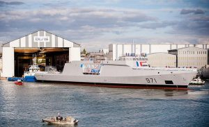 Egypt first Gowind 2500 after her launching on Sept. 17, 2016.  Note that the PISM has not been installed. DCNS