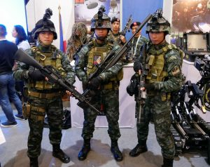 PNP Special Action Squad. The weapons from left are M4A1 Carbine, Savage 7.62mm bolt action rifle and a Ferfrans M4