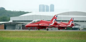 Two out of 12 Red Arrows Hawk T1s taxying at Subang after landing on Oct 16.