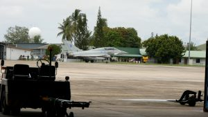 One of the Typhoons, a twin seater, preparing to take off during the interview. Malaysian Defence photo.