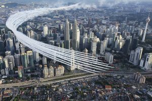 Red Arrows performing the flypast at KLCC on Oct 18, Picture taken by Steve Buckley, the photographer of Red Arrows on Red Ten flown by Squadron Leader Mike Ling. RAF picture. Crown Copyright.