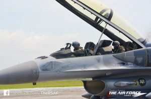 RSAF F-16D+ fighter at Kuantan airbase as part of the exchanges during Bersama Lima 16. RSAF photo.