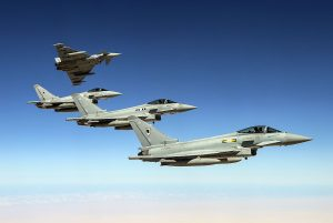 RAF Typhoons en-route to Malaysia. Crown Copyright