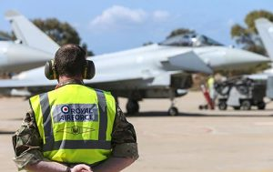 RAF ground crew getting ready the Typhoons for flight. Crown Copyright