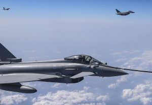 RAF Typhoons Air to Air refuelling en-route to Malaysia for Exercise Bersama Lima 16. Crown Copyright