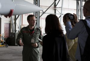 Wing Commander Mike Sutton being interviewed at Butterworth airbase.