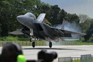 A RSAF F-15SG landing at Exercise Torrent 2016. Alert 5 picture.