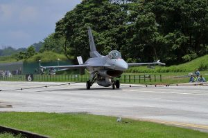 RSAF F-16 engaging the mobile arresting gear during the exercise. Alert 5 picture.