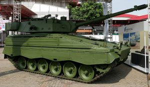 The Marder Medium RI tank. This is the Rheinmental solution for the Indonesian medium wieght tank. The hull is the Marder APC but fitted with a HITFACT turret fitted with a 105mm gun. Indonesia is buying a large number of surplus Marder IFV from Germany.