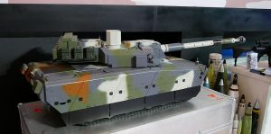 A model of the modern medium weight tank being developed by PT Pindad, a state owned firm with FNSS of Turkey for the Indonesian Army. The tank is fitted with a CMI Defence turret with a 105mm gun and 7.62mm co-axial machinegun. The first protoype is expected to be ready next year.