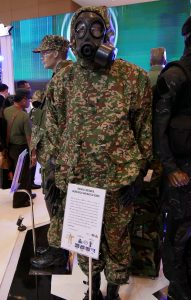 The Army digital camo CBRNe suit on display at the Sritex booth.