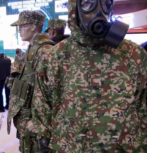 Tentera Darat digital camo on show, Next to the digital CBRNe suit is the Integrated Personnel Protection ensemble.